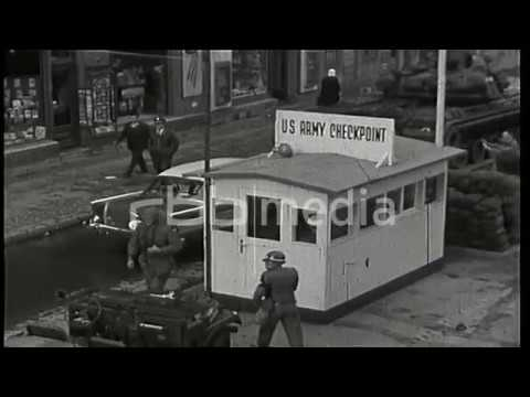 US tanks and car controls at the Checkpoint Charlie, 1961