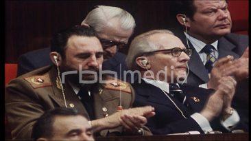 Parteitag mit Breschnew, Honecker & Castro, 1976